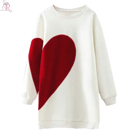 Heart Letter Print Long Oversized Sweatshirt Hoodies Long Sleeve Loose Casual Round Neck High Street 2018 Women Fall
