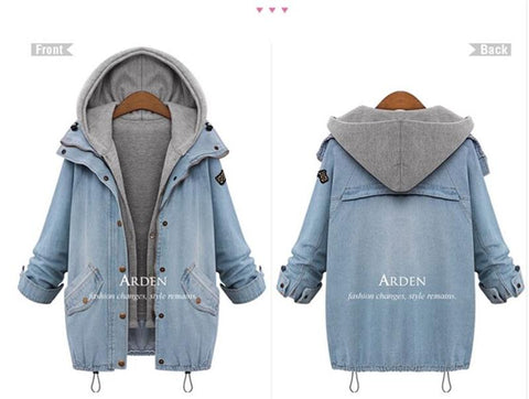 Hot Sale 2018 Autumn Women Casual Two Piece Hoodied Jean Coat Plus Size Thick Windbreaker Outwear Coat