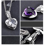 High Quality LOVE Heart Pendant  White luxury Purple Crystal  Silver Plated Necklace