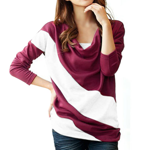 Hot New Autumn Women Long Sleeve Color Patchwork Ruffled Collar Hoodies
