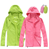 2018  Women Quick dry Hiking Jackets Outdoor Sport Skin Dust Coat Thin Waterproof UV Protection Camping Coats - Happidtime