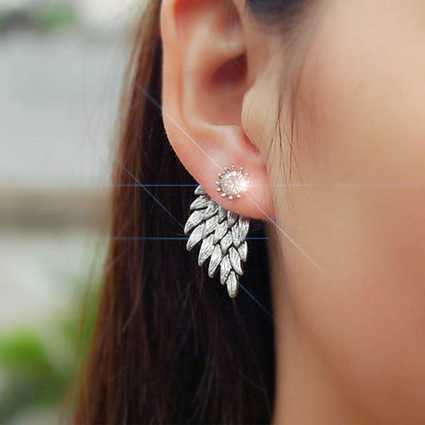 Gold Silver Gothic Cool Angel Wings Rhinestone Alloy Stud Earrings