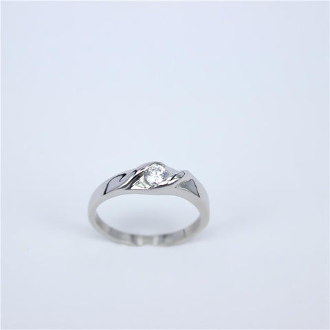 Silver color Cubic Zirconia  Stainless Steel Rings