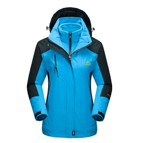 Women's Winter 2 pieces Softshell Fleece Jackets Outdoor Sports Waterproof Thermal Hiking Skiing Female Coats - Happidtime