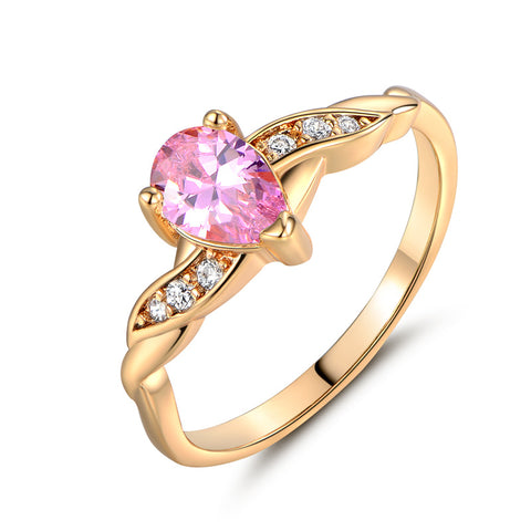 Gold-Color  Rings with Pink Cubic Zirconia Crystal Tear Drop Stone Rings