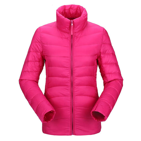 2018 women ultra light down jacket winter duck down jackets women slim thin long sleeve parka zipper coats pockets