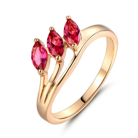 Gold Color Ring  Unique Rose Red Crystal CZ Zircon Ring