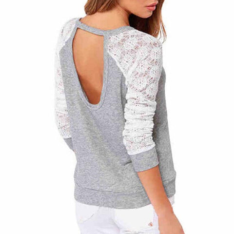 Women's  T-shirt Have  Long Sleeve and  Lace Patchwork