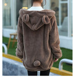 Hot Sale  Winter Loose Fluffy Bear Ear Hoodie Hooded Jacket Warm  Cute Sweatshirt Hoody