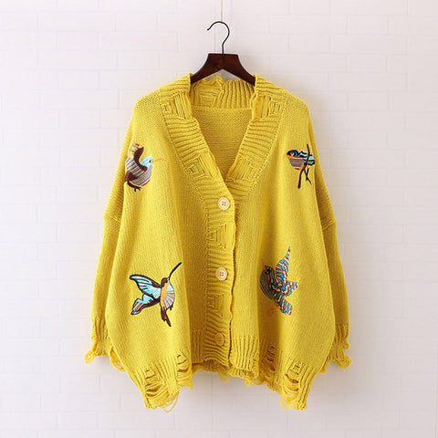 2018 Spring Cardigans for Women Knitted Birds Embroidery Poncho Sweaters Cardigans Casual Streetear - Happidtime