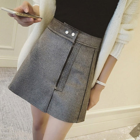 Hot Sale High Waist A Word Skirt Oblique Zipper Mini Skirt