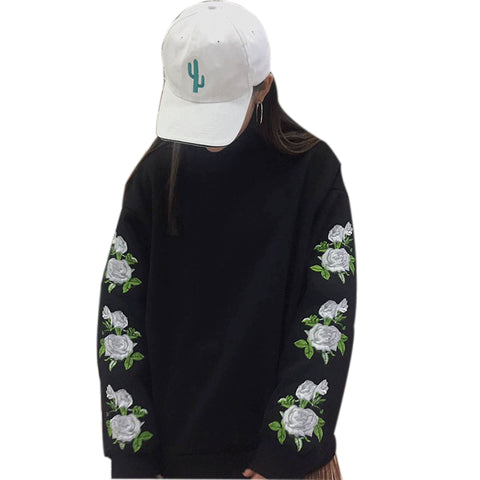 2018 New Fashion Spring  Women Hoodies Pullover Rose Embroidery Sweatshirt