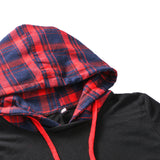 Women Mujer plaid Long Sleeve Pullovers Sweatshirt Splicing  Hooded Hoody