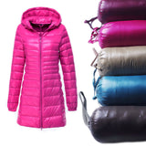 S~6XL Plus Size Ultra Light  Downs Jacket Slim Parkas Long Hooded
