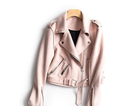 Women Faux Suede Jacket Slim Punk Leather Jacket Woman Bikers Pink Leather Jacket  Moto Jacket Autumn Outwear - Happidtime