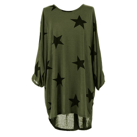Women Star Print Loose T Shirts Summer oman Shirt Tops Fashion Tees Top - Happidtime