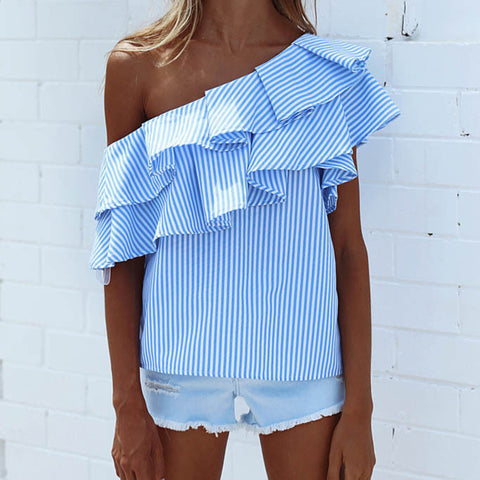 Fashion Women  Loose  Casual Cotton Striped Ruffles Sexy   Short Sleeve Top