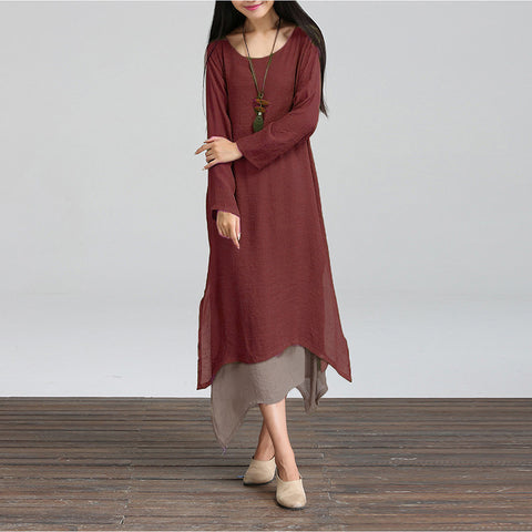 Women Dress  O-Neck Long-Sleeve of Dress