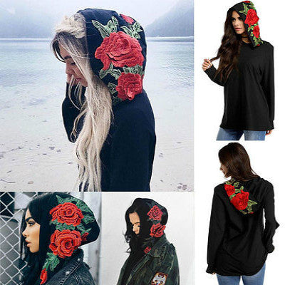 Women Hats 3D flowers Long Sleeve Hoodie Sweatshirt Casual Hooded Coat Pullover Tops