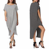 2018 Women Summer Dress Long Maxi Loose Dress Striped Batwing Sleeve Off-shoulder Split Casual Beach Wear Plus Size Vestidos - Happidtime