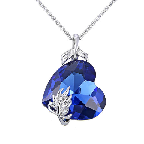 Blue Heart Crystal Pendant Necklaces butterfly Crystal Necklace