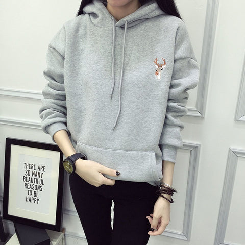 2018 Autumn Winter Hoody Fashion Deer Embroidery Hooded Tracksuits Hoodies for Women
