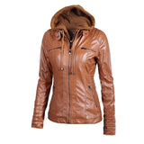 Women Zipper Leather Hooded Basic Oversized Jacket