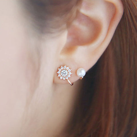 2018 Fashion Women Pearl Clip Earring Flower Plated Rose Gold Crystal Earring For Women