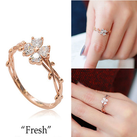 Lucky Clover Leaf Ring Copper Cubic Zirconia Rose Gold Color Olive Leaf Rings