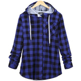 Fashion Women Cotton Long Sleeve Plaid Coat Hoodies
