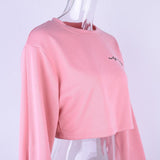 Embroidery Sweatshirt  autumn female Long Sleeve Women crop top pink white solid girl casual Pullover - Happidtime