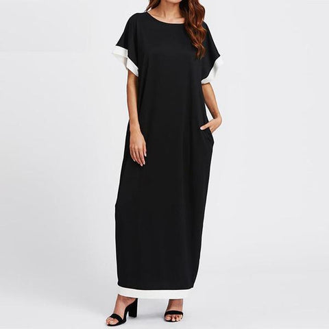 Women Dress 2017 Summer Casual Loose Maxi Long Party Dresses Fashion O Neck Short Sleeve Plus Size - Happidtime