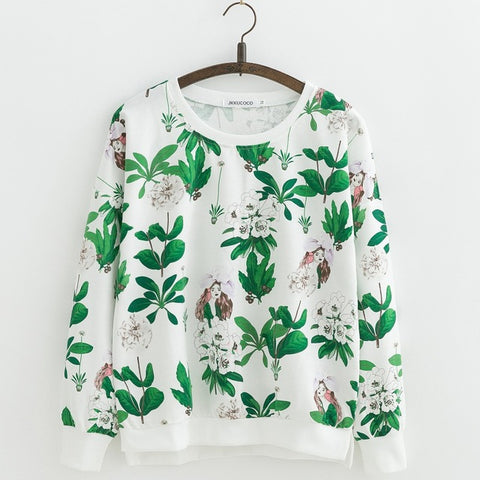 Hot sell Orchid Flowers Print Sweatshirts  Loose Cotton Hoodies