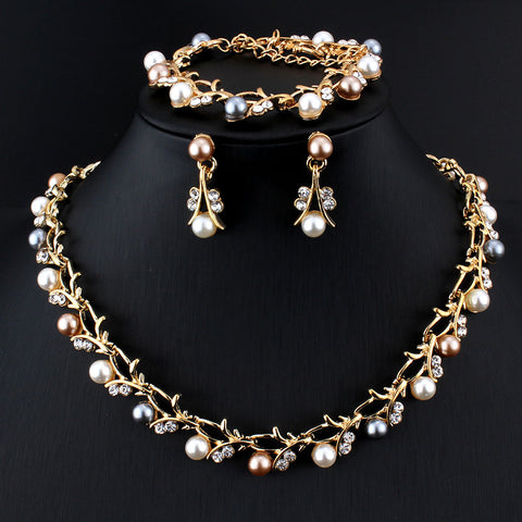 Classic Imitation Pearl Gold-color  Clear Crystal  Elegant jewelry set