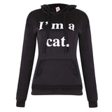 Female Women Casual Hoodies Sweatshirt Long Sleeve Hoody Cat Ears I AM CAT Printed Hoodies Tracksuit Jumper outerwear Femme - Happidtime
