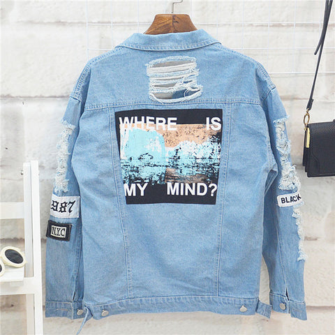 Women  Denim Jacket Vintage Long Sleeve Loose Female Jeans Coat