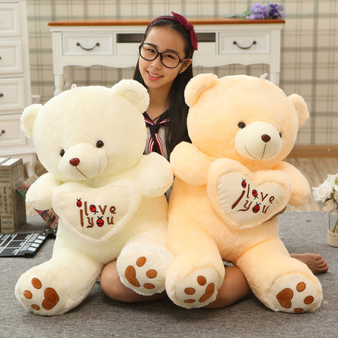 1pc Big I Love You Teddy Bear Large Stuffed Plush Toy Holding LOVE Heart Soft Gift