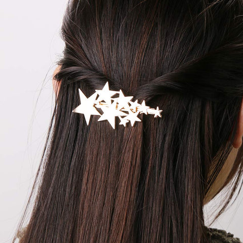 2PCS Gold Silver Star Barrettes Jewelry Hair Accessories  Hair Clips