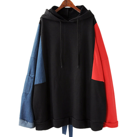 Women Autumn New Big Size Denim Stitching Hooded Sweatshirts 2018 Cotton Casual Female