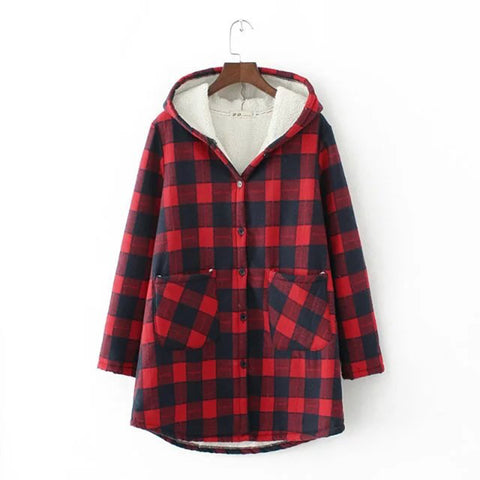 Plus size  thick Wool Liner Plaid women long Zip-up Hoodies 2018 winter casual ladies white red green Sweatshirts female