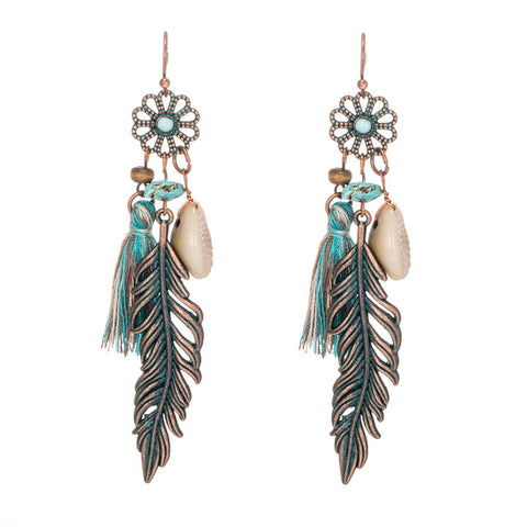 Antique Vintage Earrings With Bohemian Ethnic Tassel Leaf Stones For Women