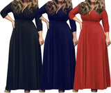 Plus Size Dress New  Casual Long V Neck Dress
