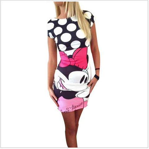 New Summer Women Plus size  Casual Sexy Mini Cartoon Dress