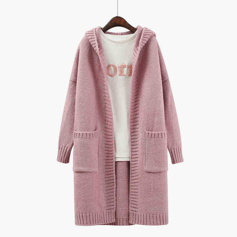 2018 New Winter Women Long Sleeve Big Sweater Large Long Cardigans Sweaters Women Hooded Knitted Coat - Happidtime