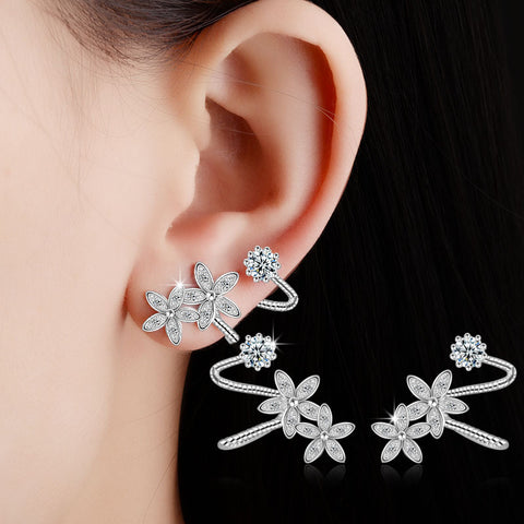 Fashion silver  Crystal Clip Earrings Flower Design Earring