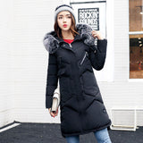 2018 Winter Hooded Coat Fur Collar Thicken Warm Long Jacket Plus Size