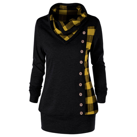Plus Size Women Sweatshirt Plaid Buttons Cowl Neck Long Sleeve Hoodies Sweatshirts Casual Long Ladies Tops Pullover