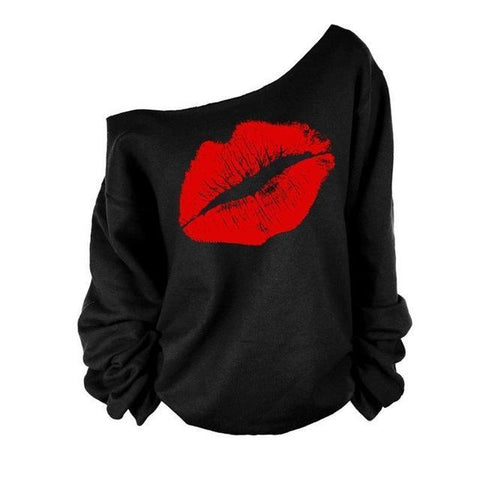 2018 Plus Size Women Sweatshirts Sexy Red Big Lips Printed Off Shoulder Long-Sleeved Pullovers Hoodies - Happidtime