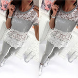 Women fashion White Lace Crochet Sequin T-Shirt and Fashion Short Sleeve  Vintage T-Shirts in summer