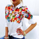 Floral/ Butterfly Printed Blouse Shirt Women Elegant White Blouse 2018 Spring Summer Tops 2017 Autumn New Slim Female Blouses